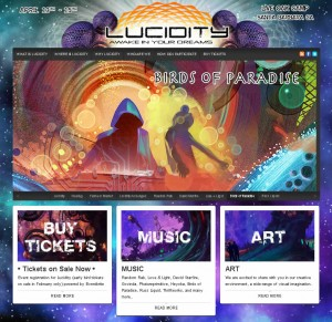 Lucidity Festival website screenshot